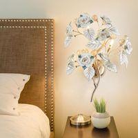 Европейский стиль спальня настенный светильник прикроватная лампа настенные светильники свеча светодиодные кристалл гостиной фон проход отель Sconce