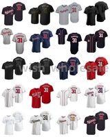 2021 Jerseys de béisbol Max 31 Scherzer Jersey Miguel Cabrera Mike Trout Mookie Betts Kris Bryant Kyle Seaver Matt Chapman cosido