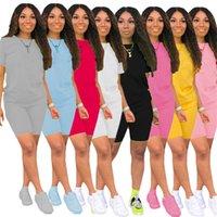 Frauen einfarbig Outfits lässig-Sweatsuit-Shorts mit zwei Stück Sets Sommerkleidung Kurzarm T-shirts + kurze Hosen Sport Laufanzug 4620