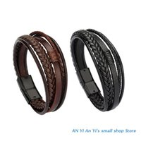 Charm Bracelets Personalized Braided Bracelet Mens Wristband Leather With Magnetic Clasp Cowhide Multi-Layer Wristbands Bangle Gifts