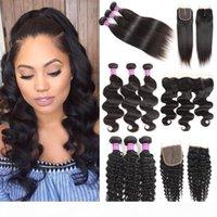 8A Brazilian Virgin Hair feixes retos com onda profunda frontal cabelo humano tece vendedores Kinky Curly Cabil Wews com extensões de fechamento