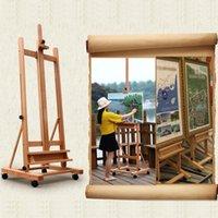 Waco Studio Mobile Sztalugi Display Display Art Materiały, Średnia Drewniana Rama H z tacą do przechowywania artysty i rolki, Solidne stojak na podłogę Beechwood