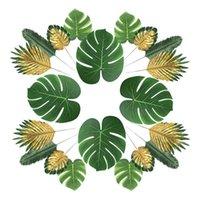 Dekoratif Çiçekler Çelenkler 66 Parça 6 Çeşit Suni Palmiye Sahte Ile Yapay Palmiye Yaprakları Hawaii Luau Parti Jung için Tropikal Bitki Simülasyonu Kaynağı