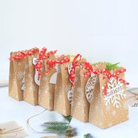 6 Styles European New Christmas Candy Box Christmas kraft Paper Snowflake Paper Bag Biscuit Candy Bag DWD7502