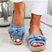 Summer Casual Bow Tie Womens Sandals Buckle Strap Flats Sandals Shoes Woman Solid Color Peep Toe Sandalias Mujer 698 q0xT#