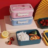 Yemek Takımları 1000 ml Lunchbox Japon Stil Kutusu Ücretsiz Hediye Sofra Buğday Saman Saklama Konteynerleri Mutfak Çevre Dostu Öğle Yemeği