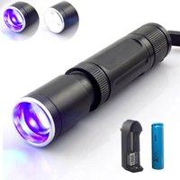 Zoomable 2 LED الأرجواني الأبيض الأشعة فوق البنفسجية الخفيفة جدا البنفسجي الأشعة فوق البنفسجية فلاش ضوء blacklight الشعلة مصباح الكشف عن المال