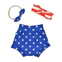 A979 Europa moda verão bebê pp calças headband conjunto legal bebês knot bunny orelha headbands shorts 3 pcs / set