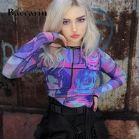 Women's T-Shirt Baccarin Mesh Sheer Women T Shirt Crop Top Anime Print Long Sleeve Gloves Patchwork Bodycon Sexy 2021 Summer Clothes Party C