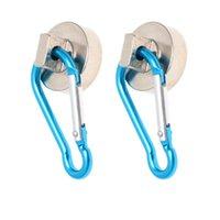 Haken Schienen 2 Stück Magnetic 22kg Hochleistungsmagnet mit schwenkbarem Karabiner-Schnapphaken für den Innen- / Außenaufhängungs-Tasche Küche gar