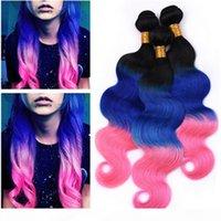 # 1b blu rosa ombre estensioni dei capelli umani onda del corpo a tre tono vergini prolunghe dei capelli vergini radice scura blu e rosa ombre capelli brasiliani tessuti capelli brasiliani