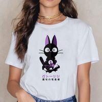 Women's T-Shirt Tops T Shirt Women Kiki Cat Maternity Design Black Cotton Female