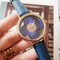 Relógios de marca mulheres menina flor oca out estilo cinta de couro relógio de pulso de quartzo l11