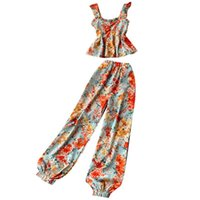 Women's Tracksuits 2021 Summer Ladies Suit Retro Holiday Style Sweet Floral Sling Blouse Female High-waist Bloomers Two-piece Trend