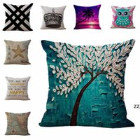 Linen Cotton Throw Pillow Case 45cm Map Tree Fruit Crown Animal Pattern Square Cushion Cover Pillowcase Sofa Bed Home Decor HWD10640