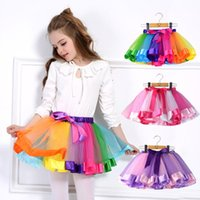 Ins New Fashions 12 Cores Novos Crianças Meninas Rainbow Tutu Vestidos Lade Lace Princess Skirt Pettiskirt Ruffle Ballet Dancewear Dancewear