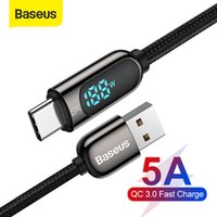 Baseus 5A USB C Cable for Xiaomi Red mi note 9 Fast Charger Cable with Digital Voltage LED Display USB Type C Cable for Samsung