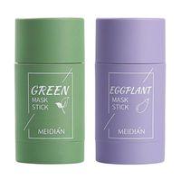 Temizleme Yeşil Çay Patlıcan Arındırıcı Kil Yüz Maskesi Sopa Derin Temizlik Yağ Kontrolü Anti-Akne Siyah Nokta Remover F1FF