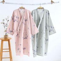 Delle donna Sleepwear Shanghai Story Story Uomo Donna Cotton Kimono Accappatoio con tasche Robe Bamboo Bagno stampato per coppia