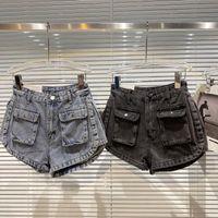 Women's Shorts Front Big Pocket Women Denim 2021 Summer Double Side Binding Design Wash Three