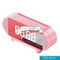 Stok DHL ücretsiz kargo A19 ayna çalar saat ile bluetooth hoparlör fm radyo telefon tutucu kısılabilir led ekran taşınabilir hoparlör