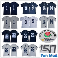 NCAA Penn State Nittany 1 KJ Hamler 14 Sean Clifford 22 John Cappelletti 26 Saquon Barkley 9 Trace McSorley 150th Rose Bowl Patch Trikots