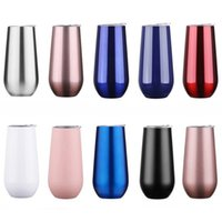 6oz Thermoses Wine Tumbler Mugs 12Colors Insulated Vaccum Cup Stainless Steel Glass Water Beer Mug for Home Outdoor SEAWAY GWF9161