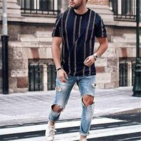 Brand New Herren Slim T-Shirts Fit Kurzarm Streifen Tops Casual Basic T-Shirt Sommer Rundhalsmode HOT 20191