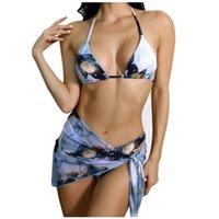 여성 수영복 섹시한 인쇄 수영복 3pieces 스커트 비키니 세트 삼각형 마이크로 문자열 고삐 여성 낮은 허리 수영복