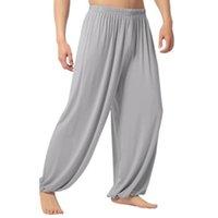 Soft Men Casual Solid Color Baggy Trousers Belly Dance Yoga Harem Pants Slacks