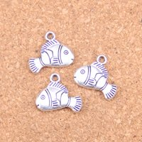 86pcs Antique Prata Banhado Bronze Banhado Adorável Peixe Encantos Pingente DIY Colar Pulseira Bangle Achados 17 * 14mm