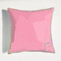 전체 패턴 장식 베개 귀여운 핑크 부드러운 쿠션 패션 캐주얼 편안한 베개 커버 홈 오피스 쿠션