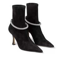 Famous Design LEROY Ankle Boots Pointed Toe Sock Fashion Boot Black White Crystal Embellishment High Heels Party Wedding Booty EU35-43