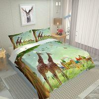Luxury Queen Duvet Cover Single King Tamaño Verde Dibujos animados Niños Conjunto de ropa de cama Conjuntos Cubiertas de colchas de cama con cama grande