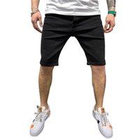 Men's Shorts Men Solid Color Jeans With Pockets Male Casual Denim Pants Cloth Breeches Dark Blue  Black S M L XL XXL 3XL