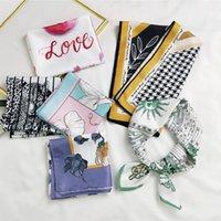 2021 Elegant Small Square Scarf Fashion Multifunction Fake Silk Girls Skinny Foulard Retro Head Neck Tie Accessories Gift