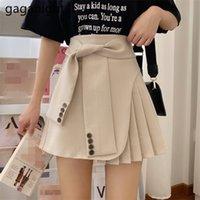 Gaganight Mulheres Coreanas Empire Plissado A-Line Saias Primavera Verão Novo Sólido Sashes Mini Jupe Estudantes Chic Faldas Mujer 210310