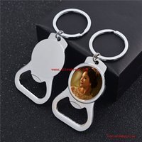 Metal sublimation white key chain bottle opener key ring transfer white key chain metal DIY material new 10 pieces   batch J0607