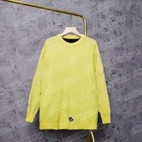 Automne Femmes Sweater Sweater Lettre Imprimer Pull-ovover Col Coussin rond Coréen Knit Knit Traînée Terrain Double Couche Multicolore M-XL