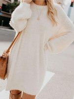 Women's Sweaters Womens Autumn Winter Oversized Loose Velvet Turtle Neck Pullover Hairy Long Sweater Dress Sleeved Shirts Plush