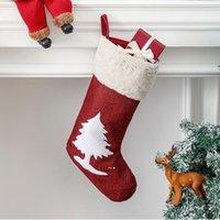 Stockings de Navidad Reno árbol de Navidad Decoraciones de vacaciones Familia Fiesta Chimenea Colgante Ornamento Regalos Bolsa BWA9434