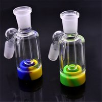 Newest design Glass Reclaim Catcher Adapter 14mm 18mm Male Female With colorful silicone storage box For Glass Water Bongs Dab Rigs