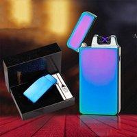 USB-Aufladung Elektronische Zigarettenanzünder Doppelfeuerkreuz Zwillingsbogenpuls Tragbare Metall Winddichte Feuerzeuge HHF8362