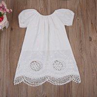 0-4Y Kind Baby Mädchen Kurzarm Kleid Weiße Spitze Baumwolle Sommerkleid Strand Party Urlaub Hochzeit Mädchen Kleid Tunika Baby Mädchen Kleidung Q0716