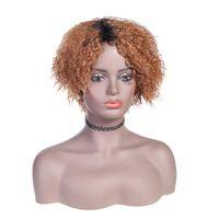 Pelucas de cabello humano de Ombre corta rizado y peluca ondulada con flequillo Remy Bob WIG Brasileño Virgen Wigs completos para mujeres negras