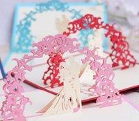 Greeting Cards 10pcs 3D Bride&Groom Archway Handmade Kirigami Origami Wedding Party Invitation Greeding Birthday Card Postcard