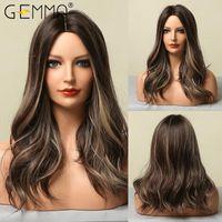 Synthetic Wigs GEMMA Medium Long Wavy Dark Brown Highlight Blonde Bob For Black Women Natural Cosplay Heat Resistant Hair