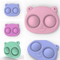 100 pcs / dhl urso forma chaveiro empurrar bolha fidget brinquedos jogo de dedo pingentes titular chave anel descompressão para adultos crianças brinquedo