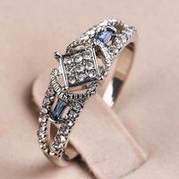 Fedi nuziali Elegante signora argento colore moda donne di fidanzamento bande gioielli per cz affascinante