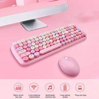 Keyboard de souris sans fil 2.4g Set de clavier bleu rose mignon couleur bleue bouchon élégant et jouant à domicile PC PC Kit de souris